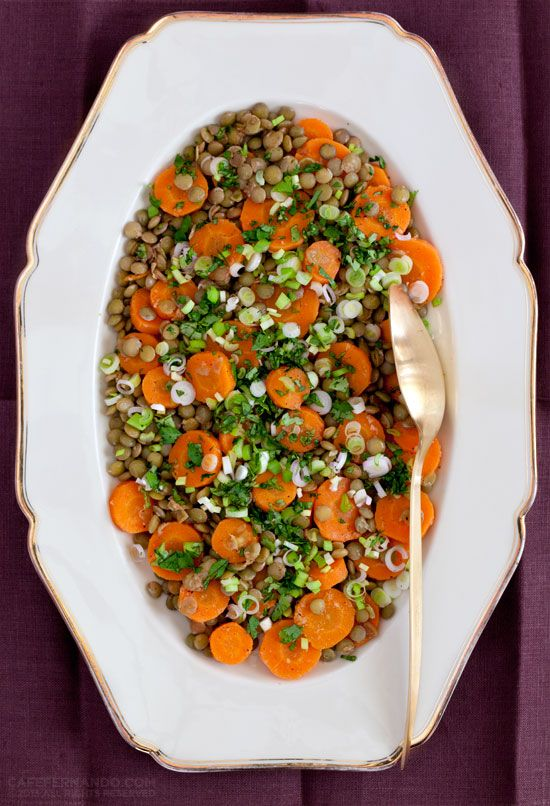 "SPICY CARROT AND GREEN LENTIL SALAD Inspired by Yotam Ottolenghi's ""Plenty""."