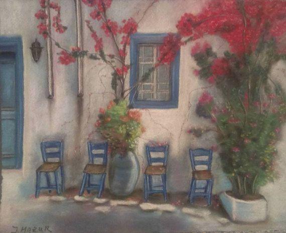 Old Greek Street Soft pastel Art Original Artwork by JaneMStudio