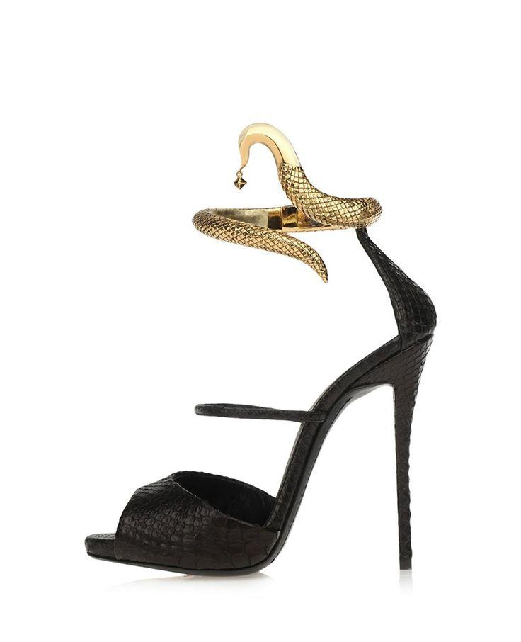 Metal-snake Embellished High-heel Sandals | BlackFive $72 (reg $121!)  #heels #sandals #shoes #snake #fashion #style #shopping #clothing #accessories #blackfive #mystylespot