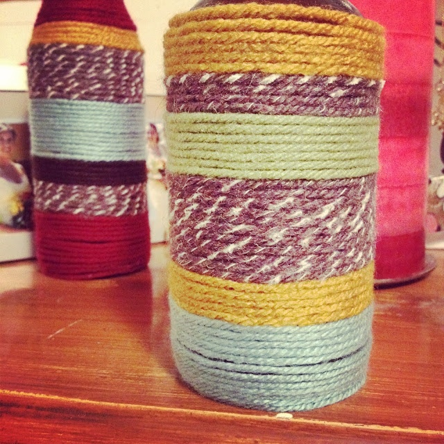 Yarn Bottle Vases!! love them.