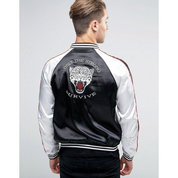 Liquor & Poker Tigers Head Embroidered Souvenir Bomber ($37) ❤ liked on Polyvore featuring men's fashion, men's clothing, men's outerwear, men's jackets, black, tall mens jackets, mens lightweight jacket, mens zip jacket, mens lightweight bomber jacket and mens bomber jacket