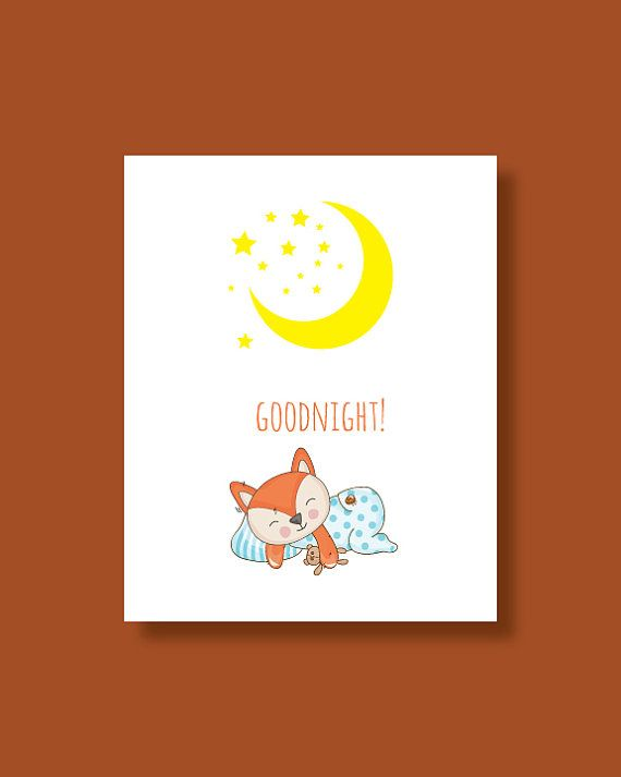 Fox Nursery Art Print  Baby Fox Dream Good by HappyLittleBeans