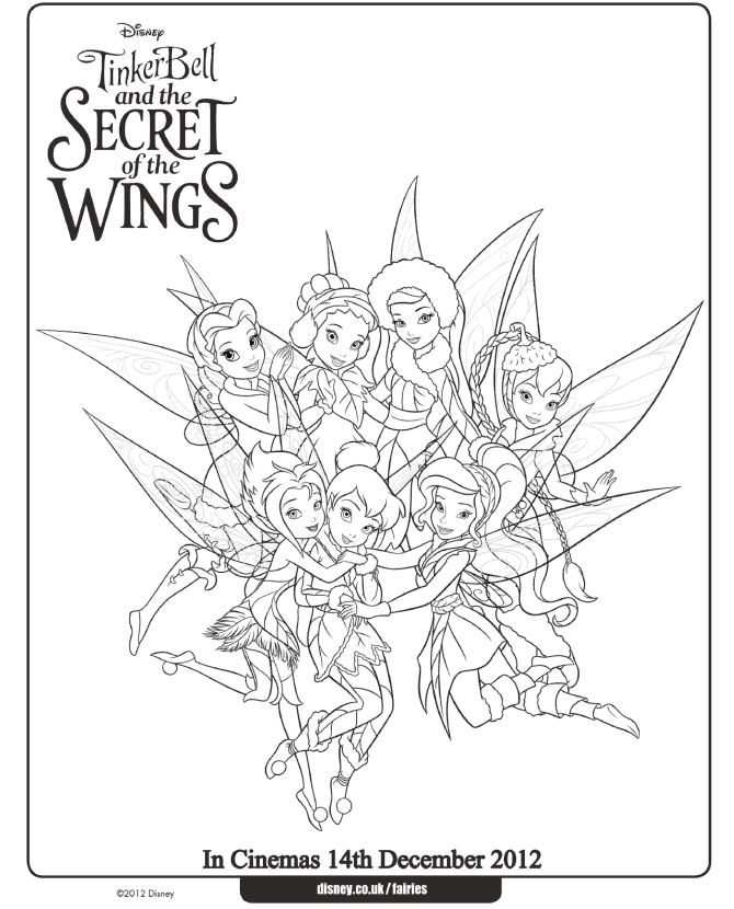 tinker bell and fairies coloring page