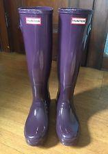 Cazador De Alto Brillo Botas de lluvia, erizo de Color Púrpura | Talla 8 | VGUC