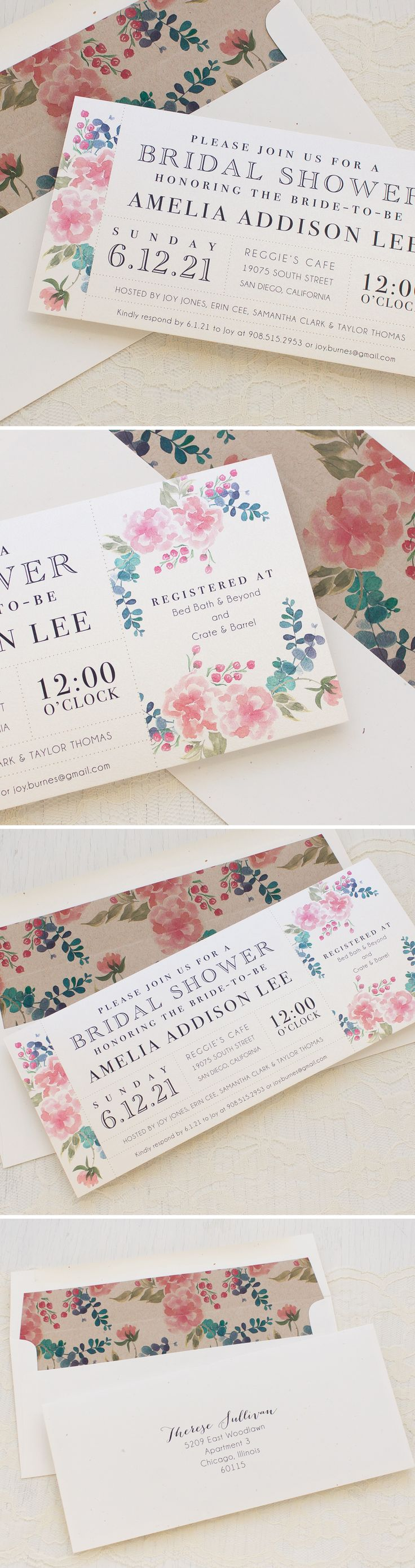 how early should you send out wedding shower invitations%0A Spring Floral Bridal Shower Invites with matching envelope liners