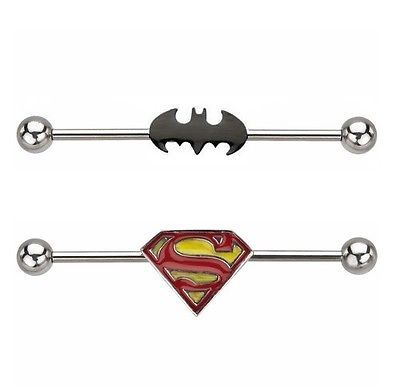 New stainless steel #batman #superman logo #industrial scaffold piercing bar ,  View more on the LINK: 	http://www.zeppy.io/product/gb/2/201532274312/