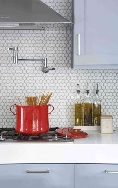 honeycomb tile, pale blue & white kitchen