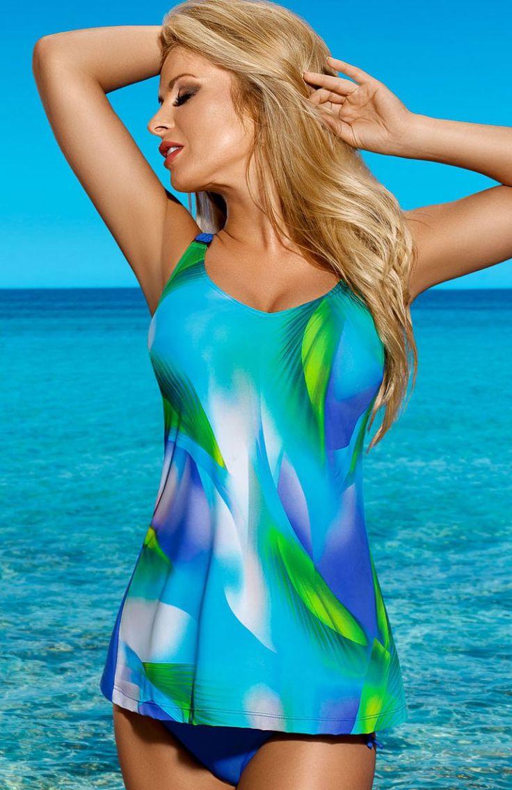 Lorin L5019/6 kostium kąpielowy Piękny jednoczęściowy strój kąpielowy, fason typu tankini, przód koszulki wykonany z wzorzystego materiału