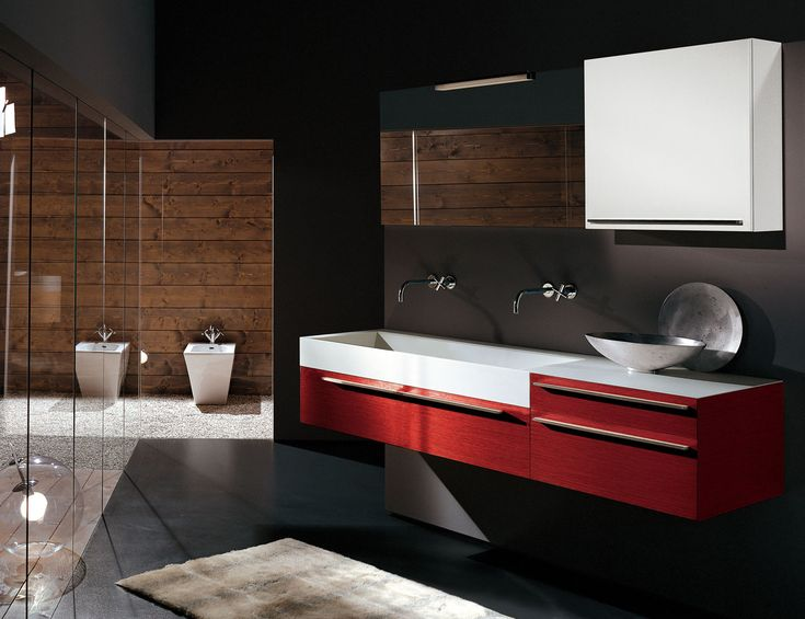 complimenting elegant bathroom design with an awesome red vanity and a square white sink bathroom - Bathroom Accessories Lahore