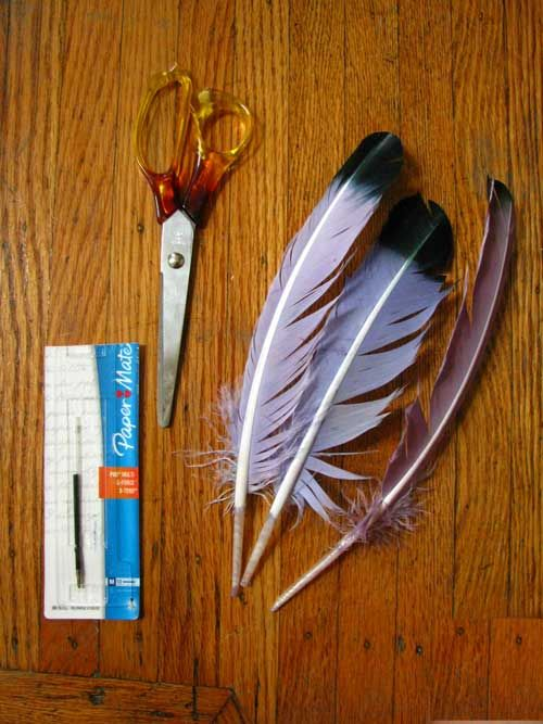 Harry Potter DIY quills! I want make these just to use in class every day and trip people out lol. Wha!? I used to try and make pokeberry ink and dip a seagull feather in it. This is way better. :D