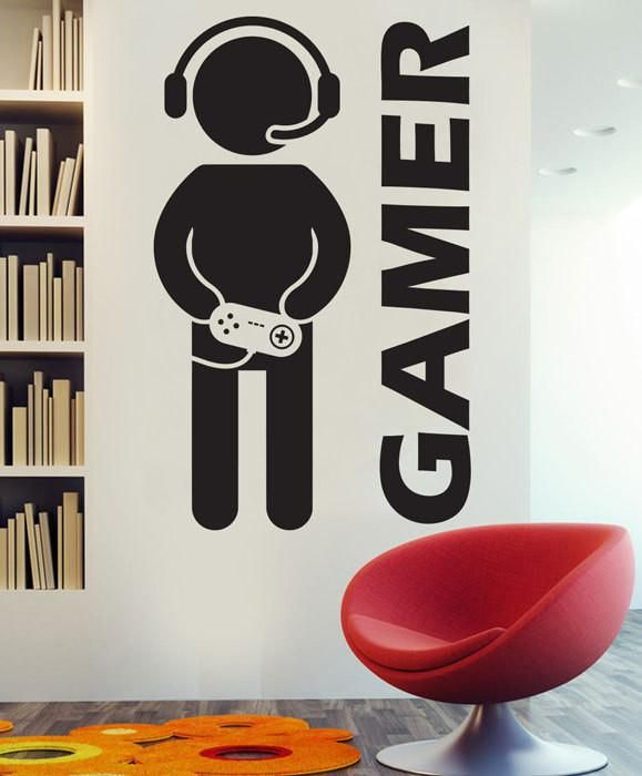 Video Game Gaming Gamer Wall Decal Art Decor Sticker Vinyl wall decal for boys room
