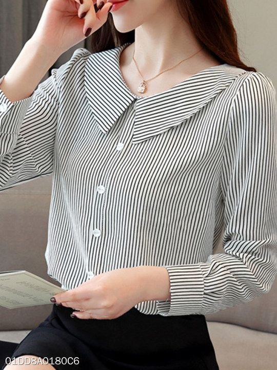Polo Collar Stripes Blouses   – Elbise Model/Kalıp