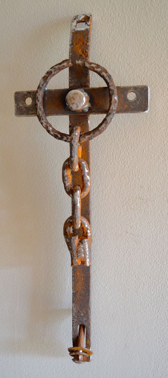 Forever Free farm scrap iron cross by CrossesByCatherine on Etsy