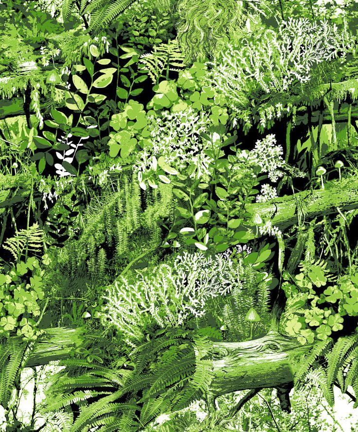 Trollskogen By Vallila   Green : Wallpaper Direct