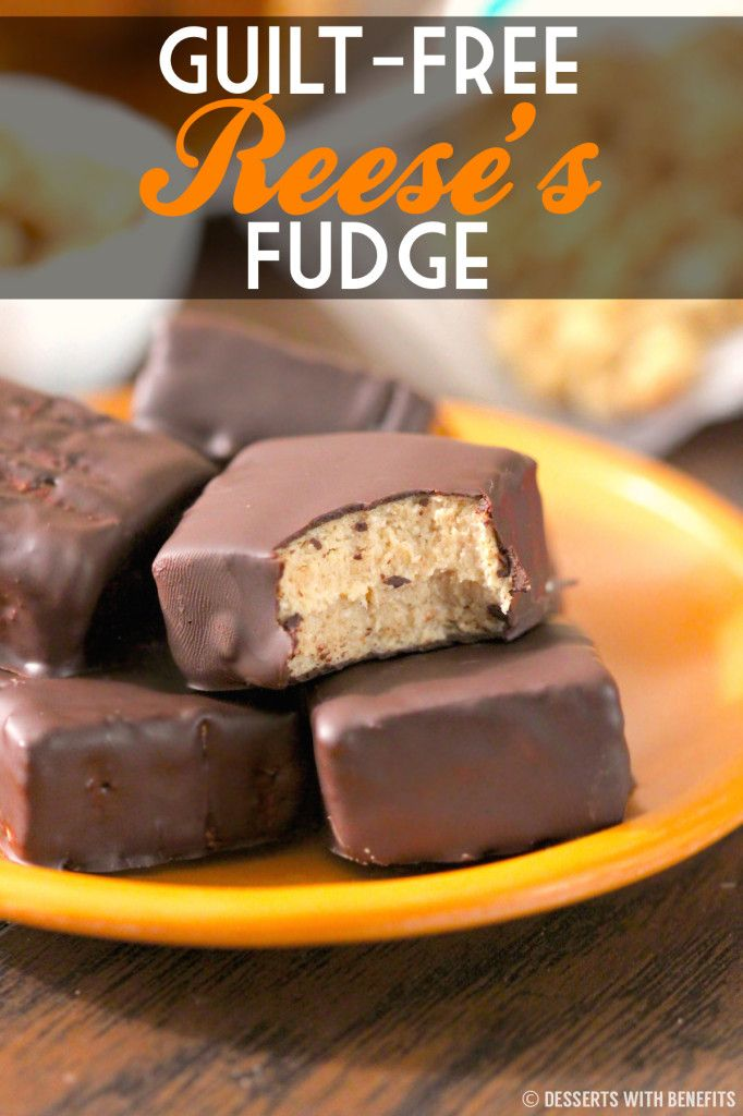 Guilt Free Reese's Fudge! This is HEALTHY?? Yup! Peanut Butter Fudge with a Chocolate shell, made low calorie, low fat, low carb and high protein! (use sugar-free chocolate)