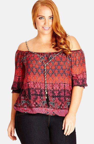 City Chic 'Charm Me' Print Chiffon Top (Plus Size) available at #Nordstrom:
