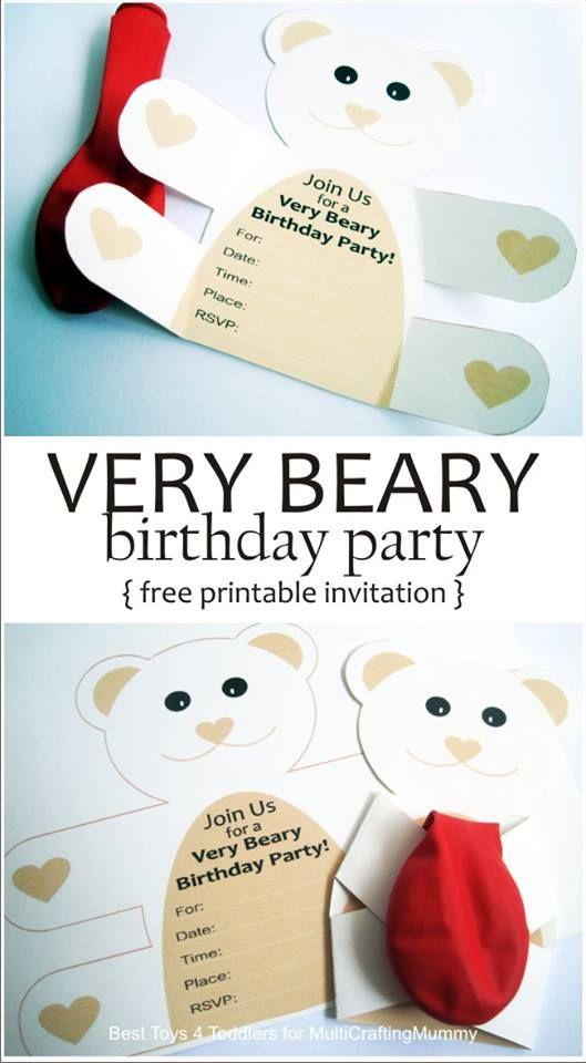 Free Printable Teddy Bear Birthday Party Invitation.