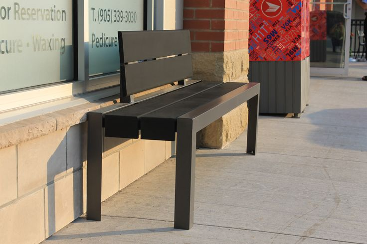 MLB1050 park bench in FCR Oackville Ontario looks perfect in the sunset. #maglin #maglinsitefurniture