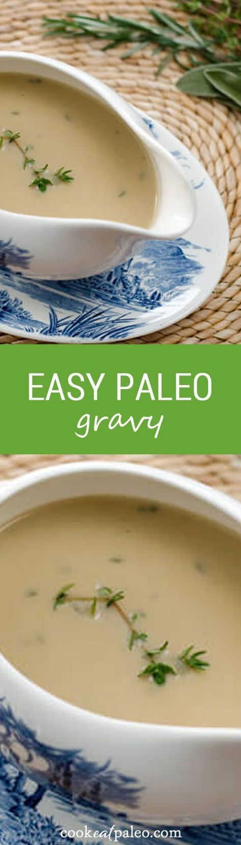 This easy paleo gravy recipe uses pureed vegetables, pan drippings and fresh herbs for that traditional Thanksgiving gravy flavor. It's gluten-free and grain-free! #paleogravy #gravyrecipe #thanksgivingrecipe