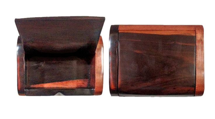 African Hand Carved, Ebony Wood, Small Jewelry Box, Ornament