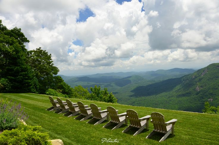Teak Adirondack chairs lined up for this magnificent view.  A Planters design.  Highlands, NC