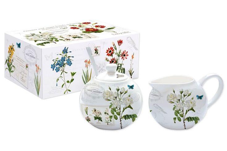 Набор из фарфора: сахарница с ложкой и молочник «Ботанический сад»      Бренд: Easy Life (Nuova R2S) (Италия);   Страна производства: Китай;   Материал: фарфор;   Объем молочника: 150 мл;   Объем сахарницы: 150 мл;          #tea #porcelain #фарфор #посуда #чай