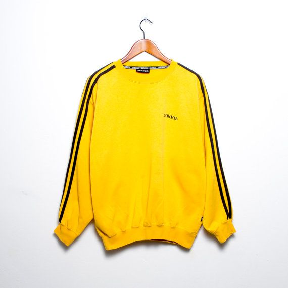 new product 81bd6 bd490 Vintage Adidas Sweatshirt Yellow Mustard by Thefashionjunky   Vintage   Vintage  adidas, Yellow clothes, Fashion dresses