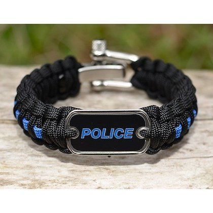 Show your true colors in a discrete yet powerful way with this Blue Line Survival Straps Blue with Police Tag