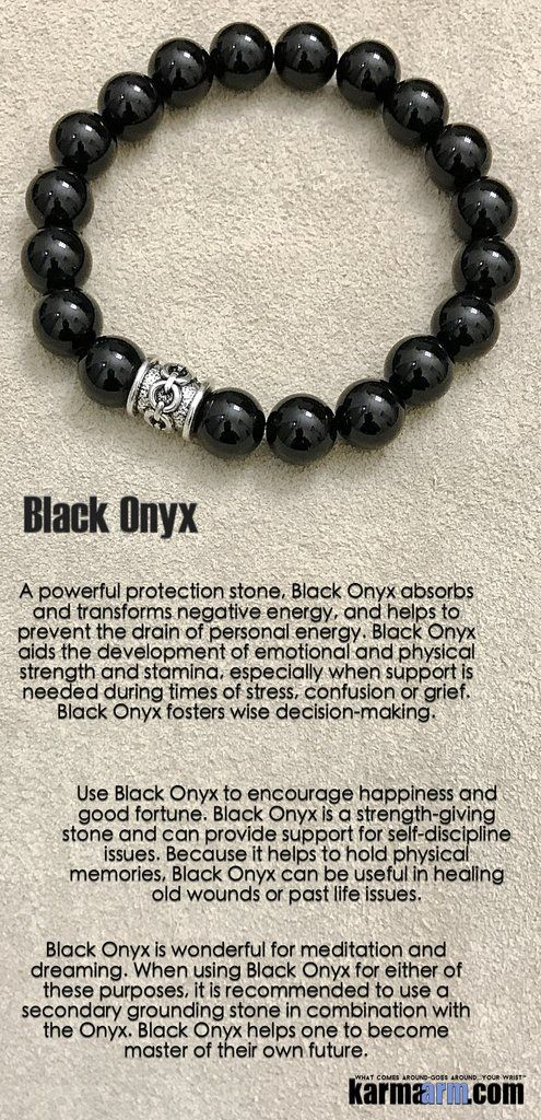 A powerful protection stone, Black Onyx absorbs and transforms negative energy, and helps to prevent the drain of personal energy. Black Onyx aids the development of emotional and physical strength and stamina, especially when support is needed during times of stress, confusion or grief. Black Onyx fosters wise decision-making.......Bracelets I Mens Womens Beaded & Charm Yoga Mala I Meditation & Mantra I Spiritual. Black onyx Chain.