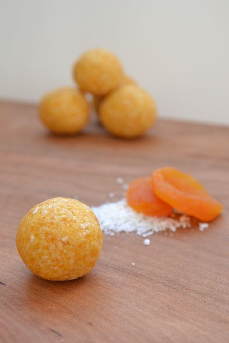 Coconut Apricot Bites 1/2 C dried apricots 1 C shredded unsweetened coconut Tiny pinch of sea salt 1 tsp vanilla 1 tbsp coconut oil 2 tbsp honey