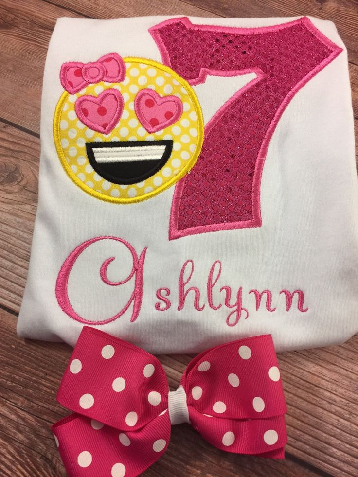Girls Embroidered Shirt;Heart Emoji Shirt;Personalized Shirt;Emoji Birthday;Girls Birthday Shirt;Custom Shirts;Girls Ruffle Shirt by SweetpeasBowsNmore on Etsy