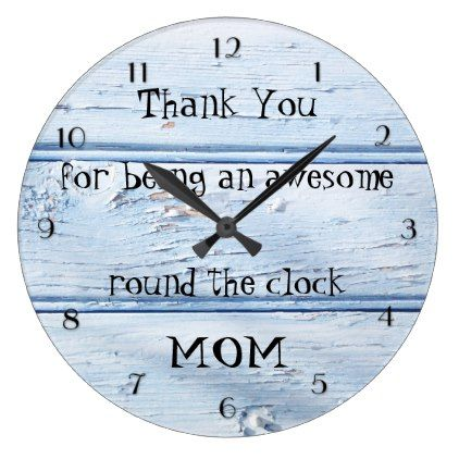 Blue Beach Style Wood Mother's Day Wall Clock - rustic gifts ideas customize personalize