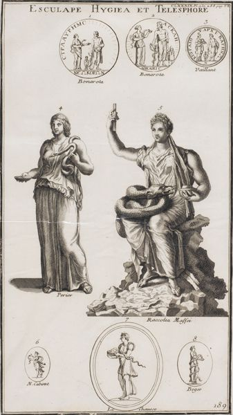 """VARIOS AUTORES S.XVIII """"Dioses romanos de la medicina y la salud"""""""