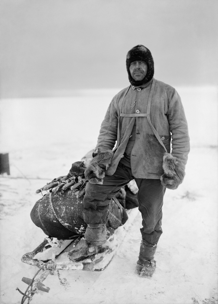 Robert Falcon Scott (1868-1912) English Royal Navy officer and explorer who led two expeditions to the Antarctic: the Discovery Expedition (1901–04) and the Terra Nova Expedition (1910–13) during which he reached the South Pole on 17 January 1912, after Norwegian Roald Amundsen. On the return journey, Scott and his four comrades died from a combination of exhaustion, starvation and extreme cold. 'Scott of the Antarctic' (1911)