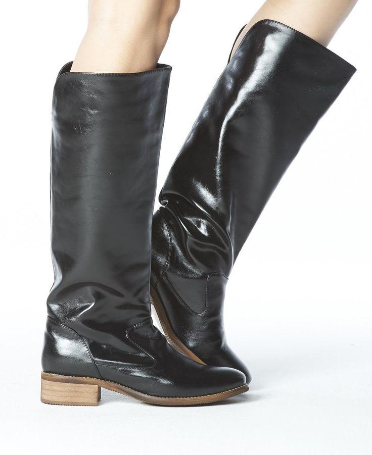 406737f30c5f Anne Pull-on Tall Boot - Black w  Green Lining. Vegane StiefelFlache  StiefelSchwarzes ...