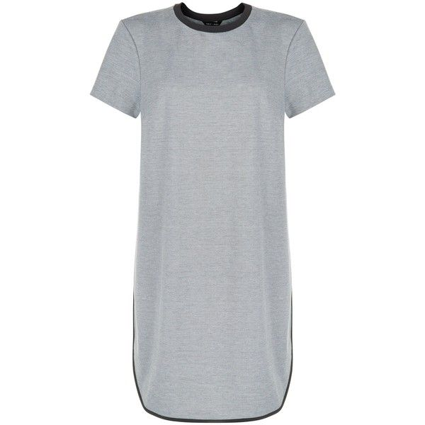New Look Grey Contrast Trim T-Shirt Dress (£15) ❤ liked on Polyvore featuring dresses, tops, grey, gray t shirt dress, grey tee shirt dress, tshirt dress, grey t shirt dress and grey tee dress