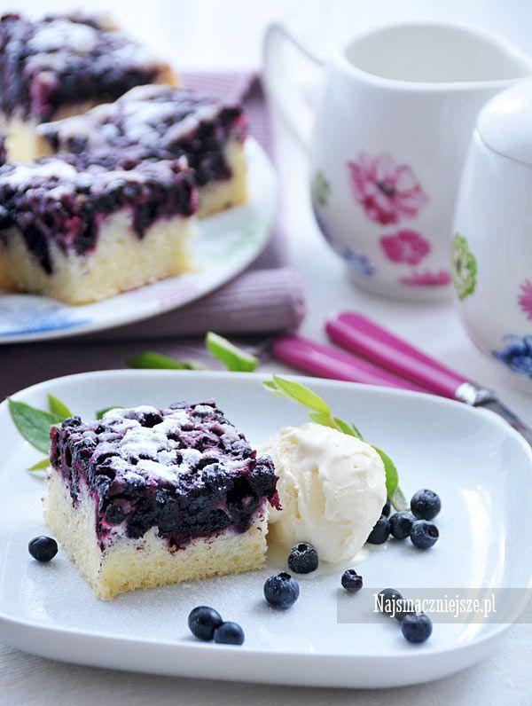 Ciasto piaskowe z jagodami, ciasto piaskowe, ciasto z jagodami, jagody, http://najsmaczniejsze.pl #food #jagody #ciasto #cake