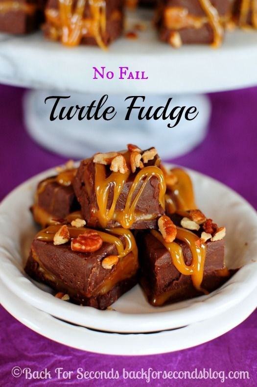 Easy NO FAIL Turtle Fudge - You can't mess this up and it's so impressive! http://backforseconds.com #fudge #chocolate #turtle #christmas