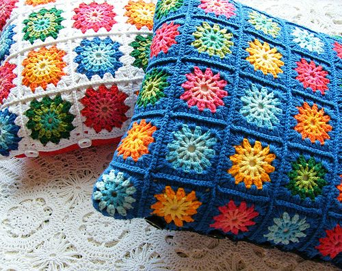 Crochet cushions with granny squares