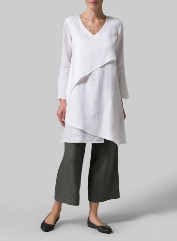 Linen Layering V-neck Tunic Khaki Brown