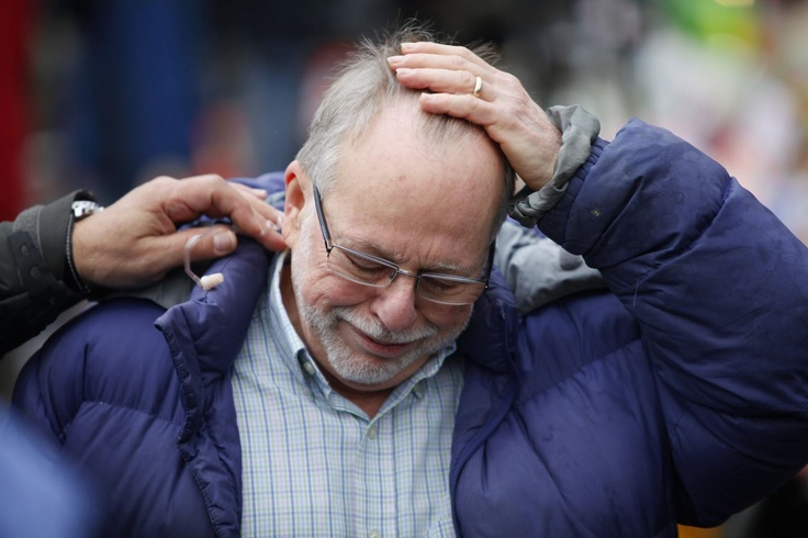 Gene Rosen, a neighbor of Sandy Hook Elementary School who sheltered 6 students, reacts after speaking to reporters in Newtown, Connecticut December 17, 2012.