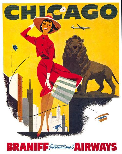 Vintage Chicago Travel Poster #vintage #travel #chicago