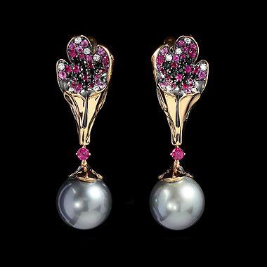Серьги Undina - buy in                           Mousson Atelier Yellow gold 750, Black gold 750, Pearl, Diamonds, Rubies, Multicolored sapphires