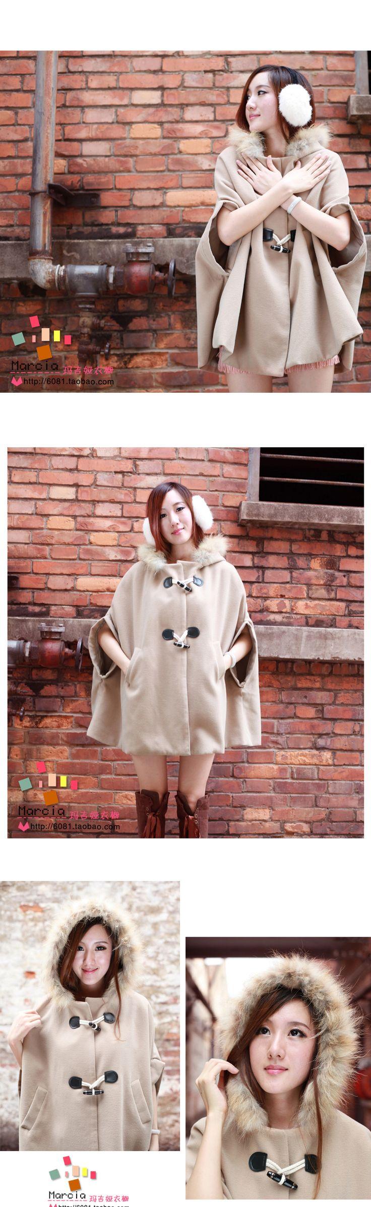 秋冬 新しい 女性用 韓国 羊毛のオーバーコート コート 大きいサイズ ショール 冬 毛皮の襟 クローク コート - タオバオ代行-チャイナトレーディング