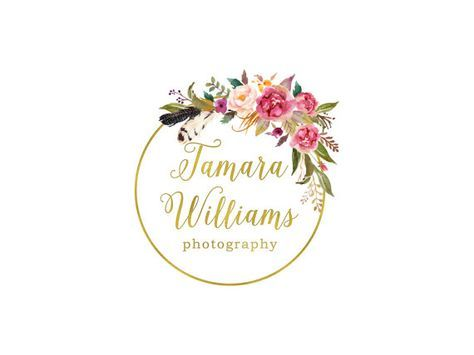 Premade Photography Logo Design and Watermark, Gold Watercolor Wreath and Flowers, Vintage Retro Rustic Flowers Logo  108