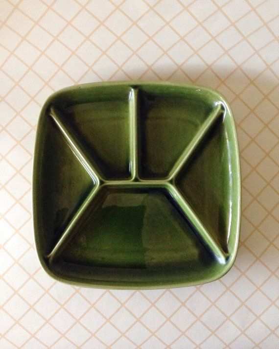 Vintage 1960 Green Glazed Pottery Square Royal by SomethingKitsch