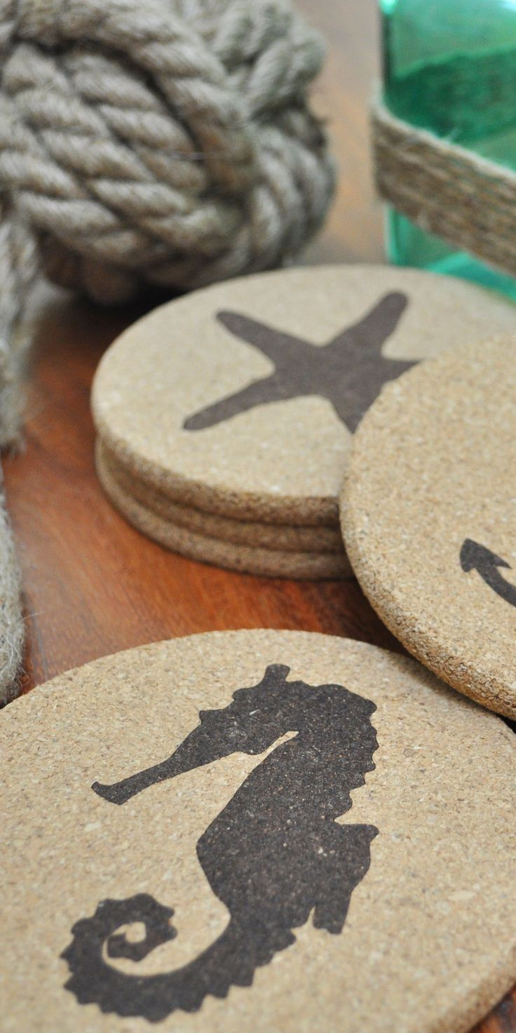 LOVE these nautical/beach themed cork coasters. They're the perfect addition to any coastal (or lake house!) decor.