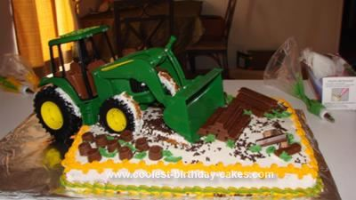For my son's 3rd birthday, I wanted to make a very special cake for him. He was big into tractors, John Deere of course, since Papa just got one! I knew