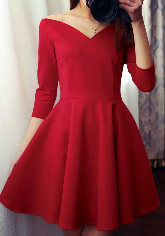 Red Bardot Neck A-Line Dress