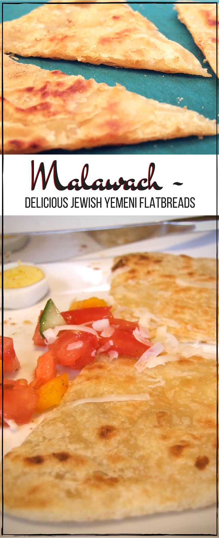 "Malawach - Jewish Yemeni flatbread | ""Encyclopedia of Jewish foods suggests that originally clarified butter called samneh was used, although oil could be substituted to make the flatbreads parve."""